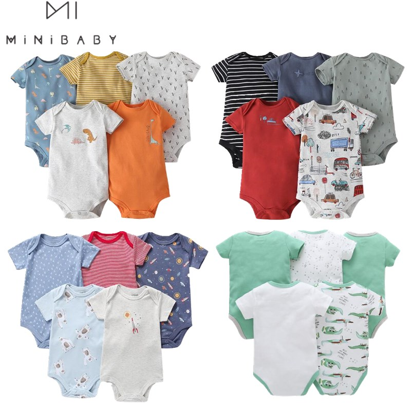 5pcs/pack Newborn Clothing Baby Bodsysuits Baby Boys Cartoon Pattern Cotton Short Sleeve O-neck For Boys Baby  Infant Bodysuit