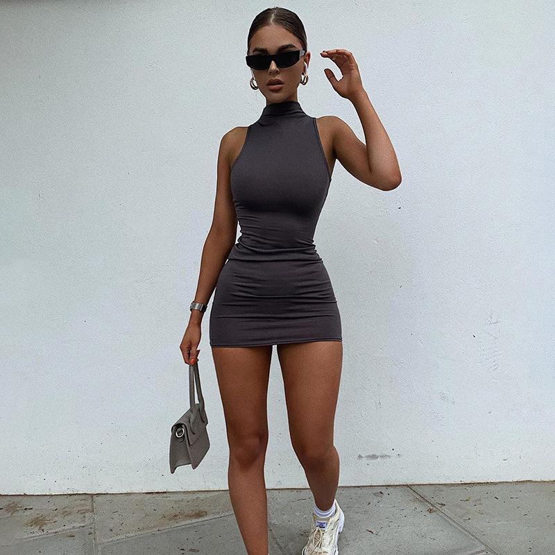 Sexy Women Sleeveless Bodycon Dress Summer Fashion Stand Collar Push Up Hip Skinny Mini Sundress Ladies Solid Bottoming Dress
