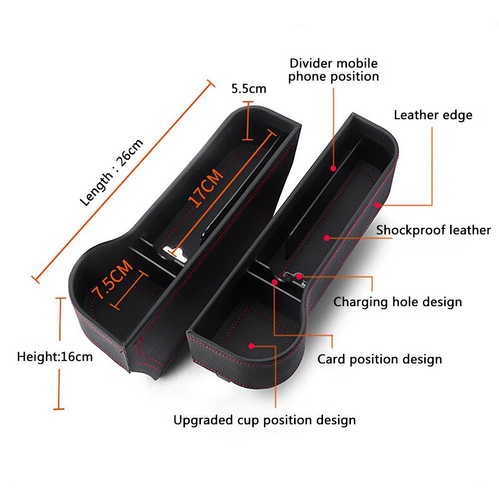 Car Seat Gap Storage Box Cup PU Leather Pocket Catcher Organizer Phone Bottle Cups Holder Multifunctional Car Accessories 1