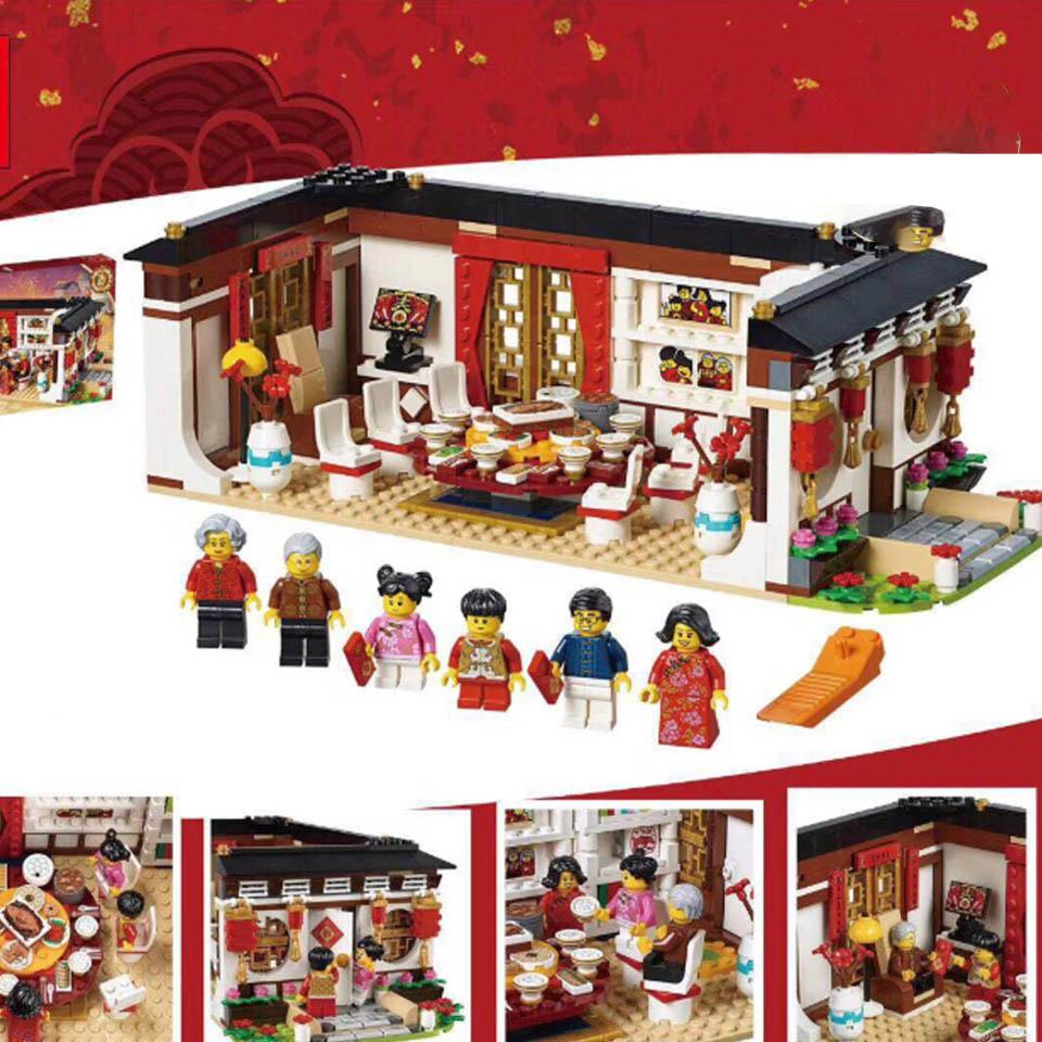46001 креативная игрушечная стройка, совместимая с Legoinglys 80101, китайский новый год, Обеденный набор, строительные блоки, кирпичи, детская игрушк...