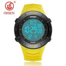 Цифровые светодиодные мужские спортивные часы reloj hombre, желтые силиконовые часы для дайвинга длиной 50 м, мужские военные электронные наручны...