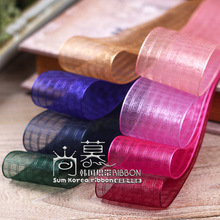 100yards 25mm 40mm checked plaid organza sheer ribbon for bouquet flower gift packing package bow wedding party supplies
