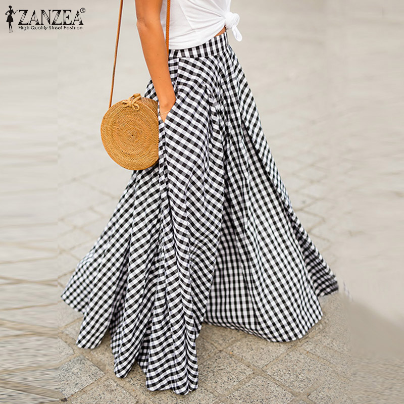 Elegant Women's Check Skirts ZANZEA 2020 Autumn Pleated Long Vestidos Female Casual Back Zip Maxi Shirts Plus Size Faldas Saia