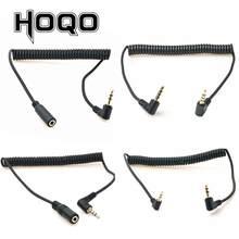 90 graus 3.5mm 3/4 pólo trs macho para trrs 3.5/2.5mm 3/4 pólo macho/fêmea fone de ouvido estéreo áudio aux mola enrolado cabo espiral