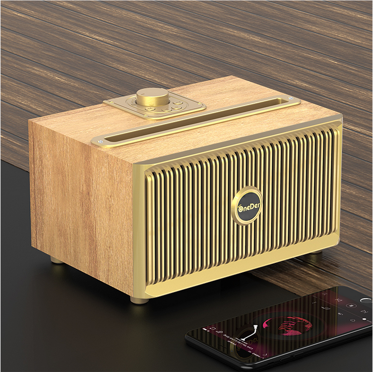 Luxury retro wooden FM <font><b>radio</b></font> supports Bluetooth Speaker / TF card / AUX / dual speaker HI-FI sound effect image