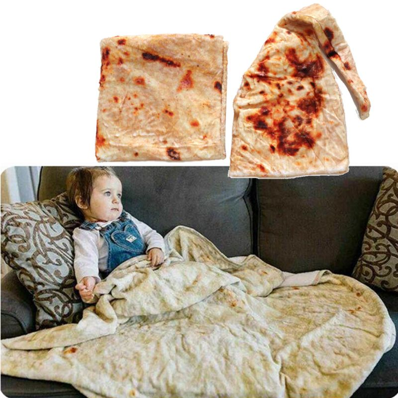High Quality Burrito Baby Blanket Flour Tortilla Swaddle Blanket Sleeping Swaddle Wrap Hat