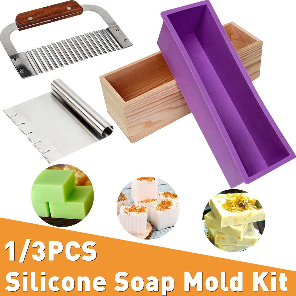 Silicone Soap Mold Kit Rectangular Loaf Mold With Wood Box Soap Cutter Stainless For CP And MP Making Handmade DIY Supplies