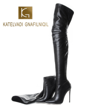 KATELVADI Fashion Shoes Womens Over Knee Black PU Boots Zip 12.5CM High-heeled Catwalk Show Ladies Winter K-577