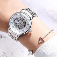 ใหม่แฟชั่นแบรนด์หรู Skeleton ผู้หญิงนาฬิกานาฬิกา Automatic Automatic นาฬิกาผู้หญิง Silver Montre Femme