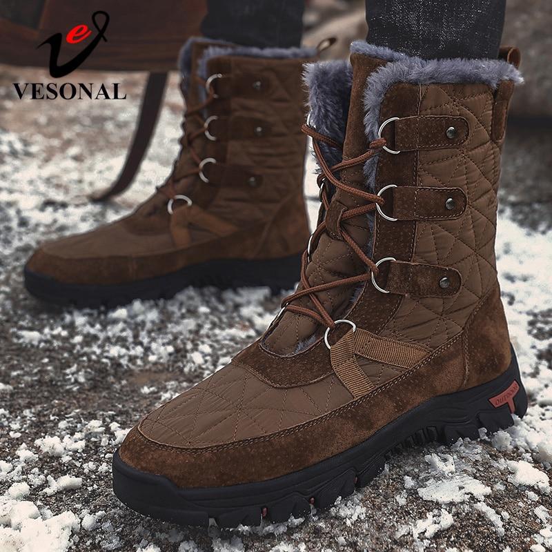 VESONAL 2020 Мужская зимняя обувь для снежной погоды BootsWaterproof Мужская обувь с мехом и плюшем теплые мужские Повседневное, высота до середины голени, рабочие сапоги для рыбалки Зимние сапоги      АлиЭкспресс