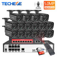 Techege 16CH 5MP Audio Record POE Kamera Sicherheit CCTV System 2592x1944 POE NVR Freien Wasserdichte Video Überwachung Kit