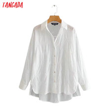 Tangada women embroidery white cotton shirts long sleeve solid elegant office la