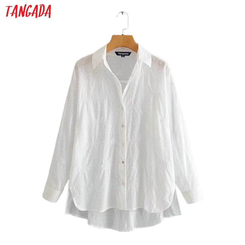 Tangada Women Embroidery White Cotton Shirts Long Sleeve Solid Elegant Office Ladies Work Wear Blouses 3A80