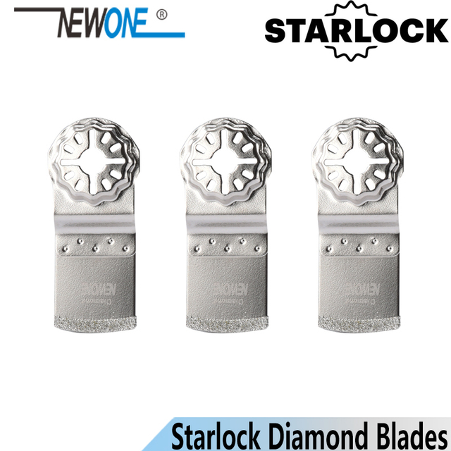 Newone starlock lâminas revestidas de diamante, em formato de e, ferramentas oscil, lâminas de serra, multiferramentas, para azulejos, concreto