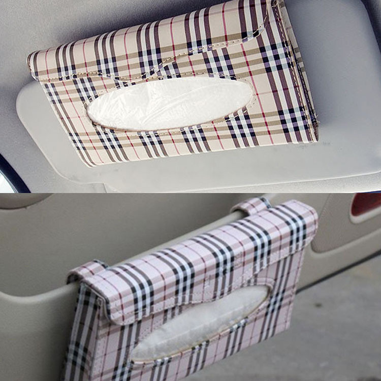 Car Mounted Car Sunshade-Tissue Box Cover Bag Plaid Hanging Paper Extraction Box Tissue Dispenser