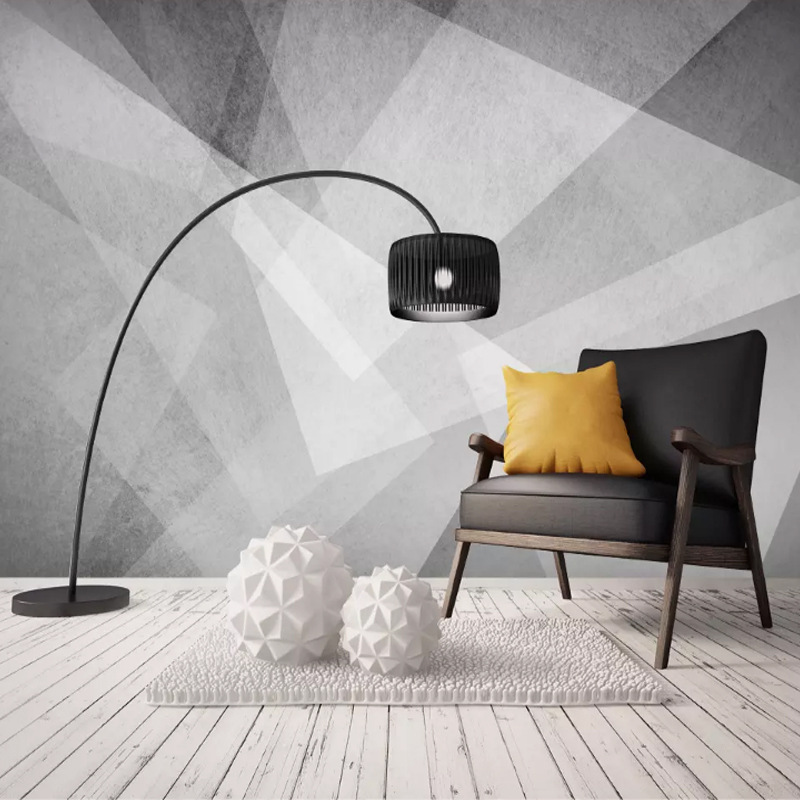 Modern Minimalist Sofa Bedroom TV Backdrop Wall Cloth Mural Black And White Geometry Abstract Cool Wallpaper