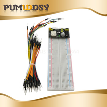 цена на MB102 830 Point Solderless PCB Breadboard with 65pcs Jump Cable Wires and  starter kit new