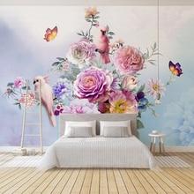 Papel де parede пользовательские пастырской ручная роспись цветочные европейский стиль 3D стереоскопический тиснением Роза ТВ фон декора обои