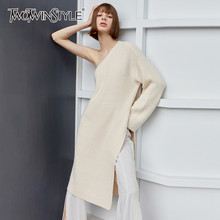 TWOTWINSYLE Casual Stricken Pullover Für Weibliche Unregelmäßigen Kragen Langarm One-Shoulder-Side Split Pullover Frauen Mode Flut(China)