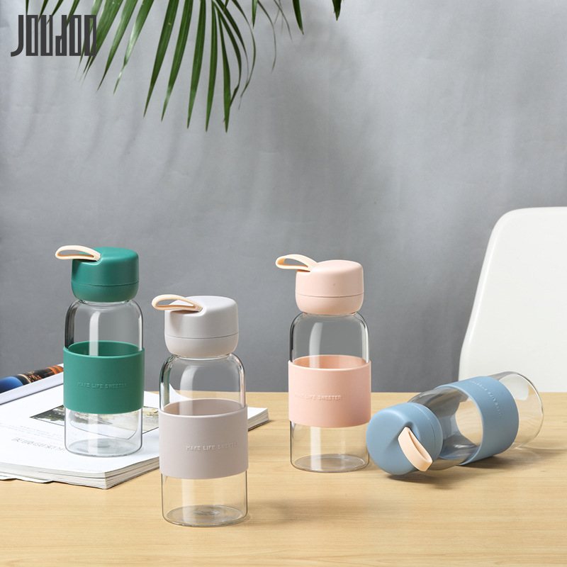 Hot Selling Glass Sport Water Bottle With Silicone Sleeve Fruit Tea Milk Coffee Summer Bottles For Water Tumbler Drinking Glass|Water Bottles|   - AliExpress