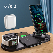 Wireless Charger Station For Apple Watch iPhone Airpods Pro 6 in 1 10W Qi Stand Fast Charging For Android iOS Cell Phone Charger
