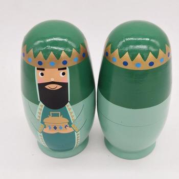 Figuras de la familia real del rey de madera de 5 uds., figuras de Matryoshka, juguete para regalo para niños