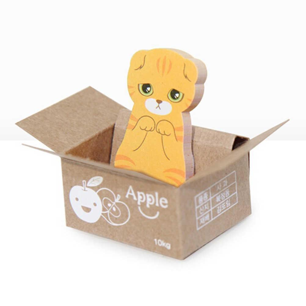 Papiernicze 3D Cartoon kartki samoprzylepne Kawaii Scrapbooking Cat Box naklejki biuro szkolne notatnik