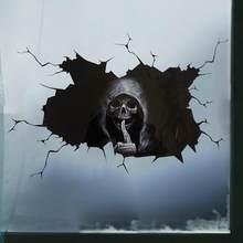 2 pçs mudo crânio adesivo de carro janela traseira do carro demônio reflexivo adesivo de vidro do carro de comércio exterior cor do carro adesivo