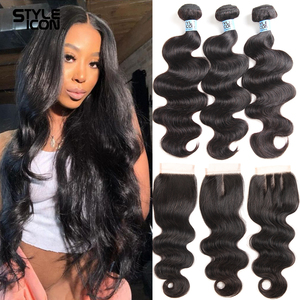 Peruvian Body Weave Human Hair With Closure Body Wave Human Hair Bundles With Closure Non-Remy 30 Inches 3 bundles With Closure