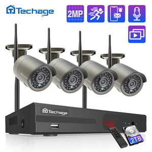 Techage 8CH 1080P Wireless NVR Kit CCTV System 2MP WiFi Audio Record IP Camera IR Outdoor Video Security Surveillance NVR Set