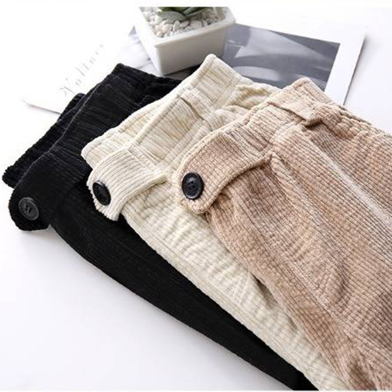 Autumn Winter Plus Velvet Corduroy Pants Female Students Korean Loose Casual Harlan Pants Thick Warm Overalls Cropped Pants 1223