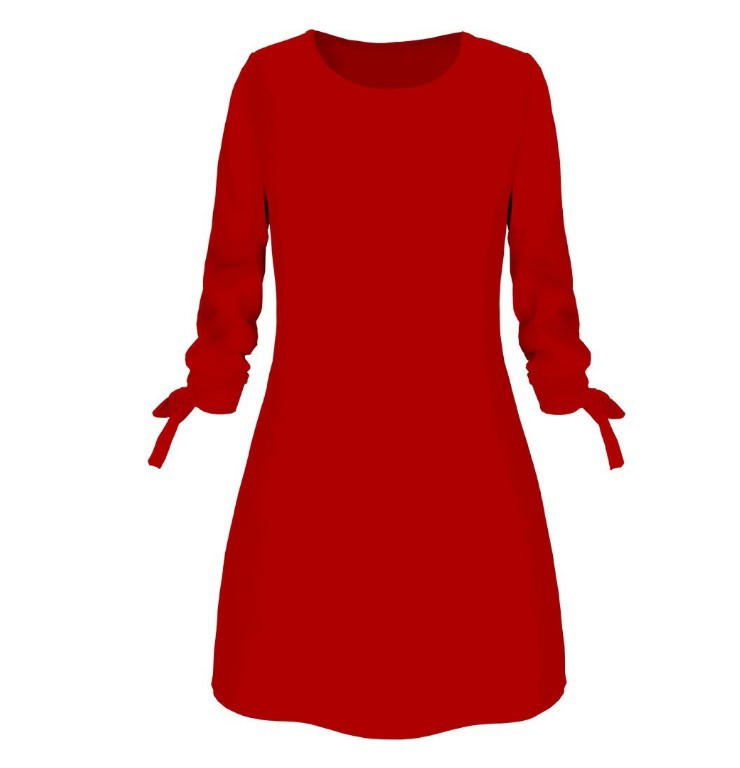 Women Fashion O-neck Solid Bow Elegant Straight Dress Spring Loose Mini Dresses 3/4 Sleeve Bow comfortable Plus Size 5