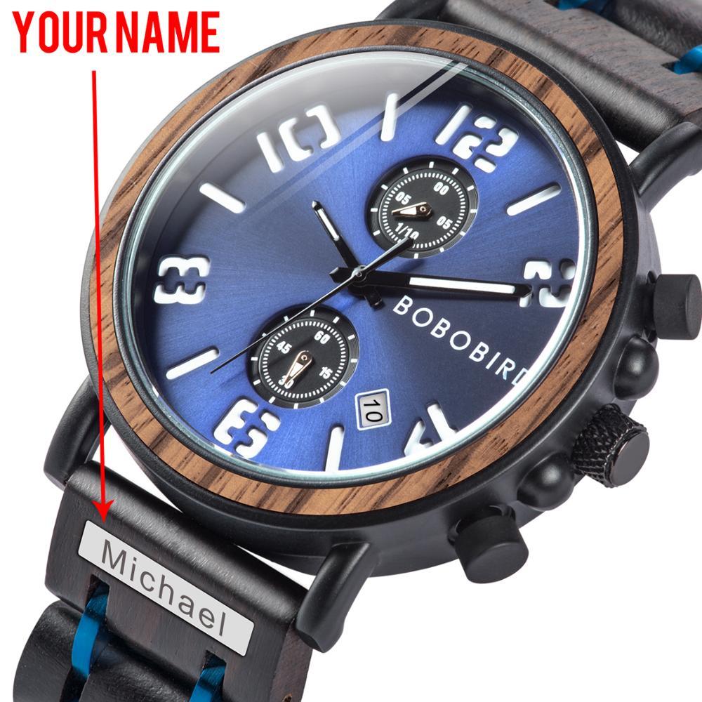 Relogio Masculino BOBO Bird Wood Watch Men Quartz Watch Military waterproof Wristwatch Luminous Hand Clock With engraving logo|Quartz Watches| |  - title=