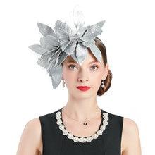 Женский головной убор с вуалью винтажный серебристым листом