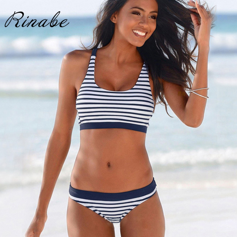 Rinabe Stripe Bikini Women 2020 Biquini Cross String Swimwear Women Bathing Suit Low Waist Bikini Set Halter Bikinis Beachwear