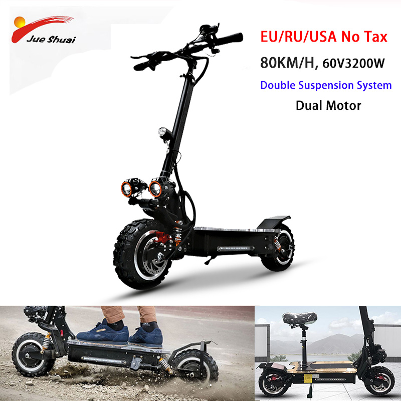 No tax 80KM/H Electric Scooter 60V 3200W Powerful Electric Motor 30A Samsung Battery 11'' E Scooter Skateboard Long Hoverboard