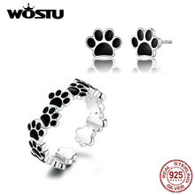 WOSTU New Fashion Real 925 Sterling Silver Paw Dog Footprint Rings & Stud Earrings For Women Wedding Engagement Jewelry Set(China)