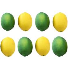 8 pacote artificial falso limões limas frutas para enchimento vaso casa cozinha festa decoração, amarelo e verde