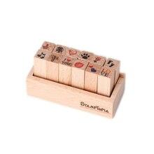 12pcs DIY Cute Cartoon Wooden Rubber Stamp Seal Box Diary Scrapbook Drawing Art