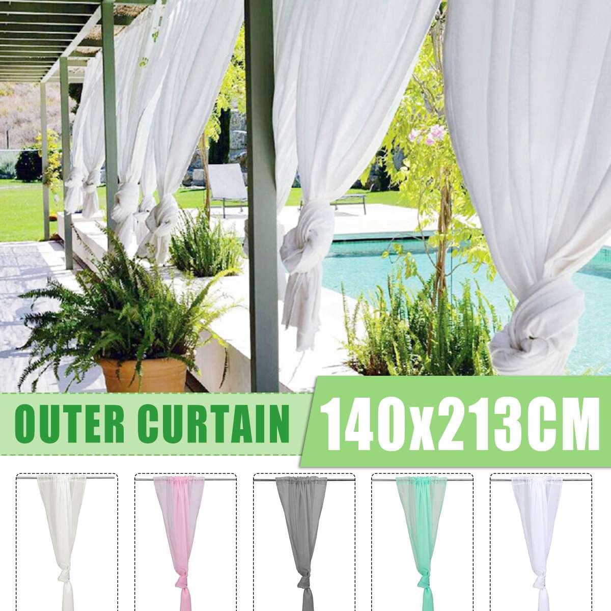 Outdoor Curtain Panel Wedding Garden Party Waterproof Polyester White Drape