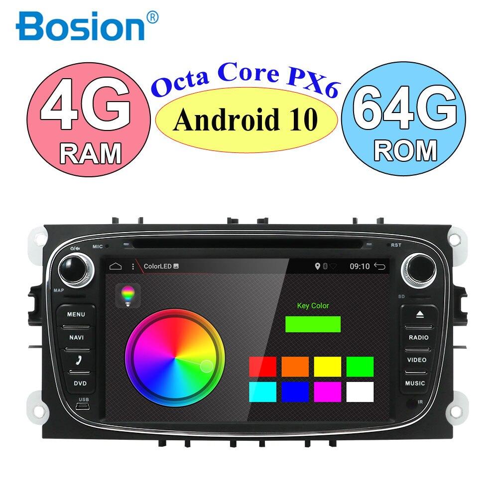 Radio con GPS para coche, Radio con reproductor DVD, DSP, Android 10,0, 2 Din, 7 pulgadas, WIFI, 4G, para FORD/Fit Focus/S-MAX/Fit Mondeo/C-MAX/Galaxy RAM