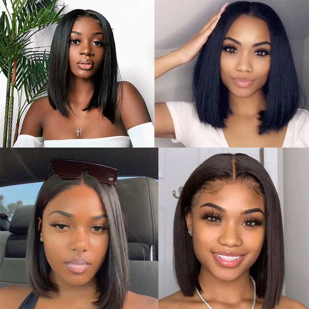 Straight Wave Short Bob Lace Frontal  Wigs 13x4  Bob wig Pre Plucked  HD Full Hair Frontal Wigs 4