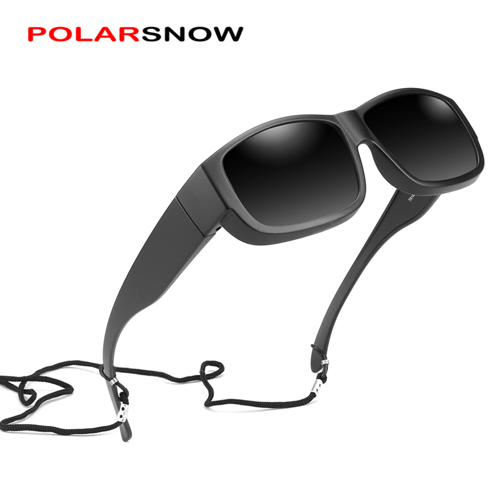 POLARSNOW TR90 Polarized Fit Over Sunglasses That Wear Over Glasses UV400 Lens Rectangle Frame Vintage Goggles 2020 Driving