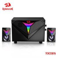 Redragon Toccata-altavoces para videojuegos, barra de sonido de graves fuertes RGB 3,5, Sonido envolvente estéreo de 2,1mm, para ordenador y PC, GS700