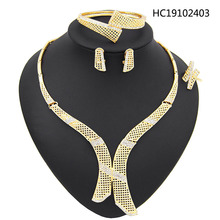 Yulaili nigerian wedding woman accessories jewelry set Wholesale italian Bridal jewelry set dubai gold color jewelry set Brand italian berlitz reference set