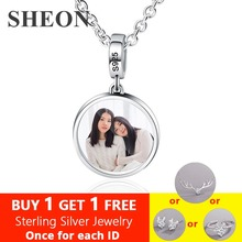 цены SHEON 925 Sterling Silver Custom Color Photography Necklace Personalized Keepsake Picture Necklace DIY Jewelry Gift for Mom