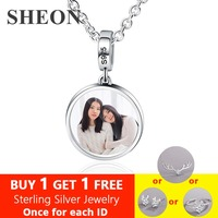 SHEON 925 Sterling Silver Custom Color Photography Necklace Personalized Keepsake Picture Necklace DIY Jewelry Gift for Mom