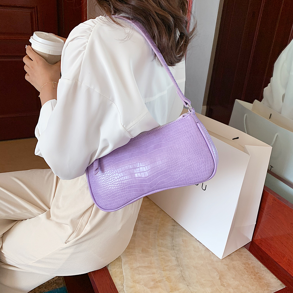 Women Messenger Bag Retro Serpentine Bag Imitation Crocodile Shoulder Female Handbags Purses Totes Saddle Bag Leather Baguettes