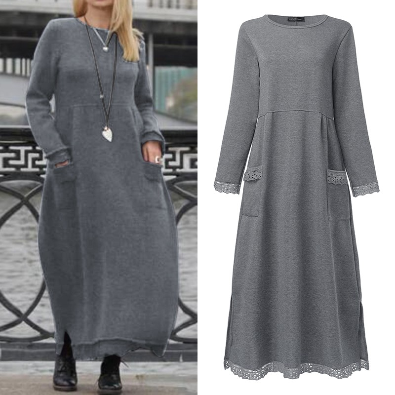 Elegant Lace Stiching Sweatshirts Dress Womens Autumn Sundress ZANZEA 2019 Casual Maxi Vestido Female Solid Hoodies Plus Size