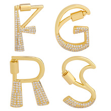Cz-Pendant Necklace Jewelry Charm 26-Letters Gold-Color Copper for Women Diy A-Z Luxury